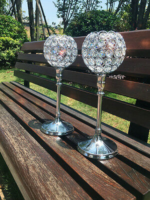 2 PCS Acrylic Crystal beaded bling tealight candle holder wedding centerpieces
