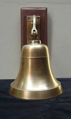 large vintage brass nautical SHIP'S BELL w/ arm and wall mount - GOOD SOLID TONE