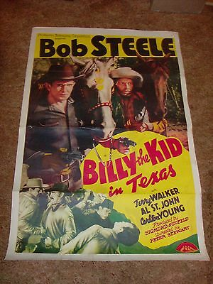 """Bob Steele - """"billy The Kid In Texas"""" 1941 Poster - 50% Off....only $79.95!!"""