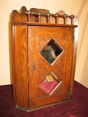 ANTIQUE OAK AESTHETIC HANGING CORNER CABINET w/ DOUBLE DIAMOND BEVEL MIRRORS