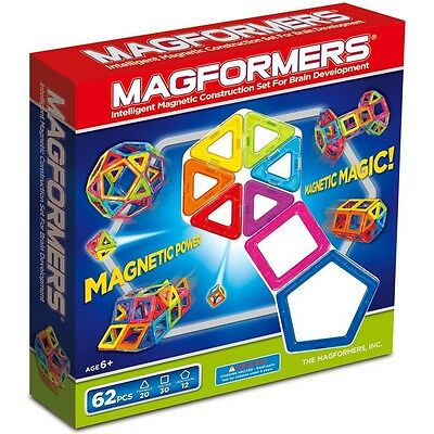Magformers 62 Pcs Magnetic Construction Set NEW