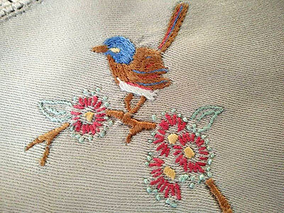 Australian Wren bird /Red Flowering Gum ~ Vintage Hand Embroidered Doily
