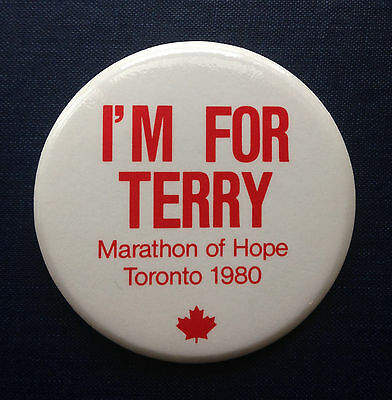 I'M FOR TERRY Marathon of Hope Toronto 1980 TERRY FOX Vintage Pinback Button