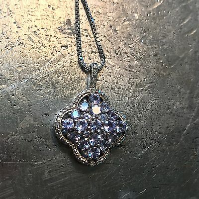 "Natural Tanzanite & Diamond Pendant, with 20"" Sterling Necklace"