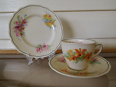 "Royal Doulton ""Orchids"" Trio D5215 Made In England 1930s"