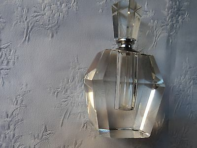 Cut glass perfume bottle with dipper