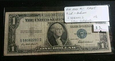USA 1935F One Dollar Bill Silver Certificate Nice Old Note Priest-Anderson