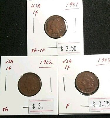 USA 1901,02,03 Indian Head Cent Penny Copper All Nice Coins Great Shape Lot#346