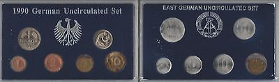 1990 German Uncirculated 6 Coin Set & East Germany Unc 6 Coin Set 1982-1990 #3