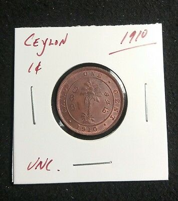 Ceylon 1910 One Cent UNC Amazing details and mint luster present Lot#407