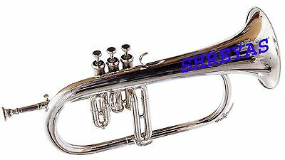 FLUGLEHORN 3 VALVE Bb PITCH NICKLE SILVER WITH FREE HARD CASE AND MP