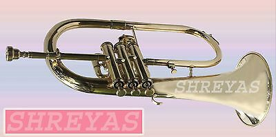 SALE NEW FLUGEL HORN 3 VALVE Bb PITCH BRASS WITH FREE HARD CASE & MP FAST SHIP
