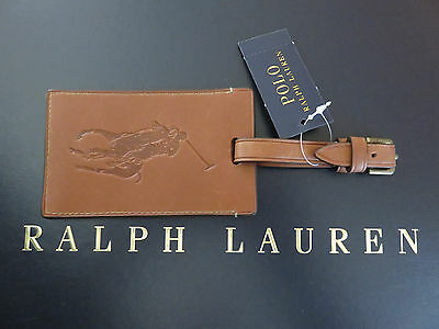 NEW RALPH LAUREN POLO Saddle Brown Leather Luggage Tag with Brass Hardware