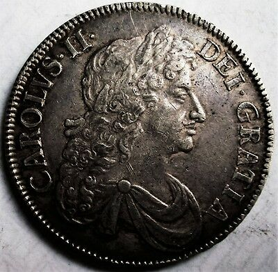 Exceptional King Charles Ii Crown 1677 Over 6 ( Similar Sold £40,300.00 2015)
