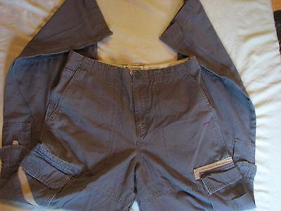 Columbia Youth Gray Cargo Pants Adjustable Waist Sz 16 100% Cotton