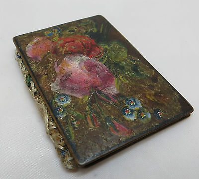 Painted Wooden Needle Case Forget Me Nots Roses Mauchline / Spa Ware Collectors?