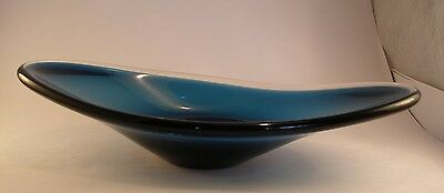 "Whitefriars Artic Blue Elongated Bowl, G. Baxter 1961 ca 11.5"" long"