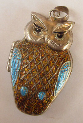 Vintage CHINESE Export Silver Sterling OWL Enamel LOCKET/Pendant Lovely!