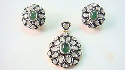 2.20cts RosecutDiamond & Emerald Victorian Inspired PendantSet With 92.5% Silver