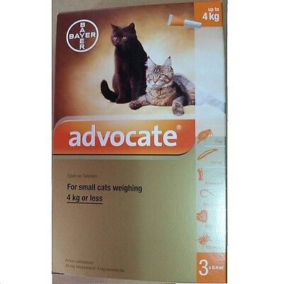 6 x 0.4mL ADVOCATE FOR KITTENS AND SMALL CATS UP TO 4KG Flea Worms Exp.2019