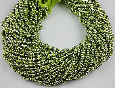"""5 Strand Green Pyrite Gemstone Faceted Rondelle Beads 3.5-4mm Bead 13.5"""" Long"""
