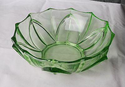 Vintage Green Uranium Glass Fruit Bowl