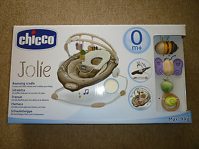 Chicco Jolie Vibrating Baby Bouncer Chair-Natural colours with wooden toys- New