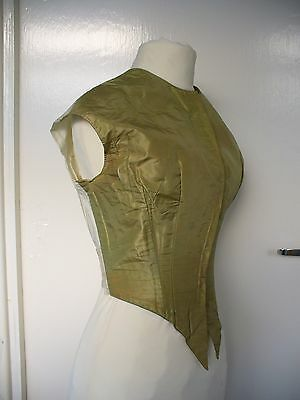 Ladies gilet bodice Victorian apple green silk mid c. 1840s 'as found'