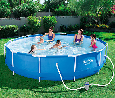 Above Ground Garden Pool 12'x2.5' Sturdy Steel Frame Filter Pump 3Ply PVC Fabric