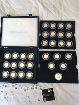 2012 Rare Silver proof UK Olympic set 29x 50p + 5 pound coin