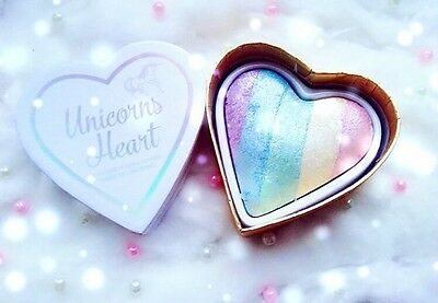 I Heart Makeup Unicorn Heart Rainbow Highlighter Glowing New