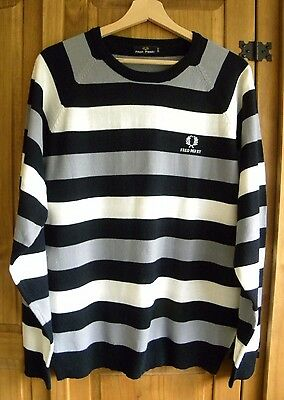 Fred Perry Striped Men's Long Sleeve Knitted Jumper Size L
