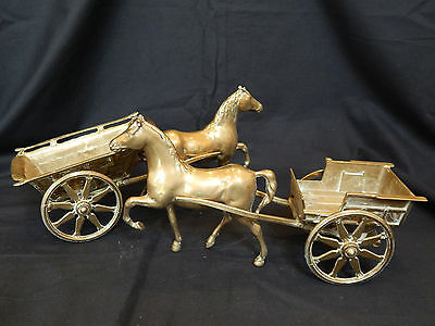 Set of 2 Vintage Italian Brass Horse and Carts