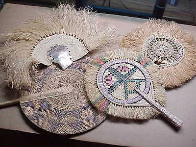 #823 Collection 4 Vintage African Hand Fans Seashells Abalone Straw 12""