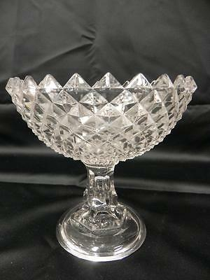 Eapg Antique Flint Glass Sawtooth 1860 Pattern Open Compote Candy Serving Dish