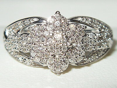 STUNNING 9CT WHITE GOLD FANCY 0.33ct DIAMOND CLUSTER ENGAGEMENT RING