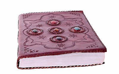 New Handmade Eco Friendly Brown Embossed Leather Journal Notebook Diary Stone