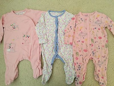 Mothercare Girls Sleepsuits Up To 3 Months