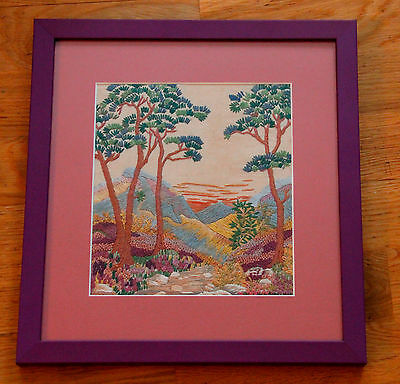 Vintage hand embroidered picture flowers Landscape crewel embroidery
