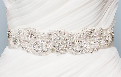 Kenneth Winston Bridal Gown Sash Belt Light Gold Size 10 from Gown 1646