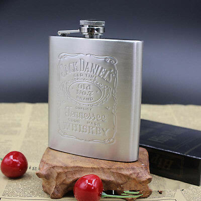 With Box Portable Stainless Steel Hip Flask 7oz Embossed Flagon Flasks Russian W