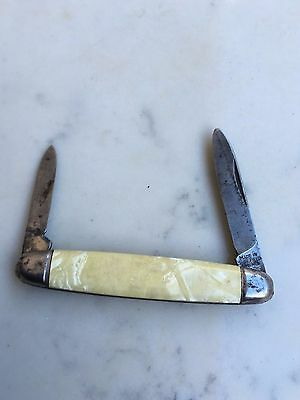 Vintage Sheffield Shell Stainless Steel Double Blade Folding Pocket Knife