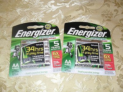 2 x 4PK ENERGIZER RECHARGEABLE AA RECHARGE EXTREME BATTERIES BARGAIN PRICE