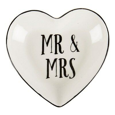 Ceramic Heart Mr & Mrs Sentiment Trinket Ring Jewellery Dish by Sass & Belle ty