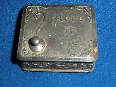 """VINTAGE Antique SILVER PLATED Trinket Box """"HERE IT IS"""""""