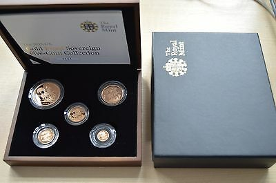2010 Gold Proof Sovereign 5 coin set