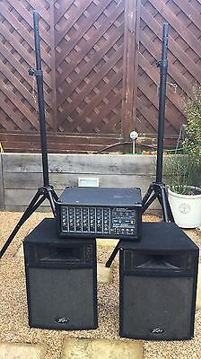 peavey pro 12 Speakers 500w Plus MP600 7 Channel Amp and stand PICK UP ONLY
