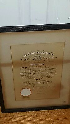 1904 CONNECTICUT DENTAL COMMISSIONERS DENTIST CERTIFICATE w SEAL SIGNATURES WOW