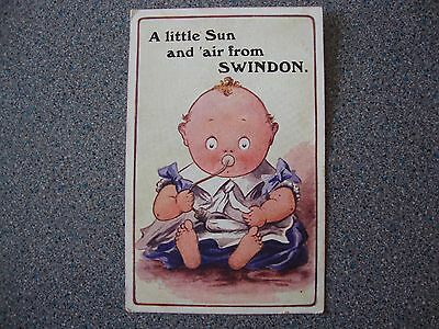 COLOURED SWINDON WILTSHIRE COMIC POSTCARD,1909c.