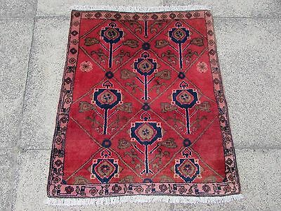 Old Traditional Persian Rug Oriental Hand Made Wool Red Small Rug 80x68cm